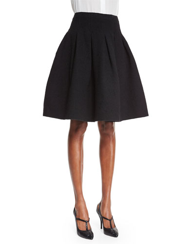 Structured Skirt W/Pleats, Black