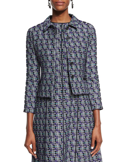 Oscar de la Renta Multi-Print Tweed Jacket, Bright