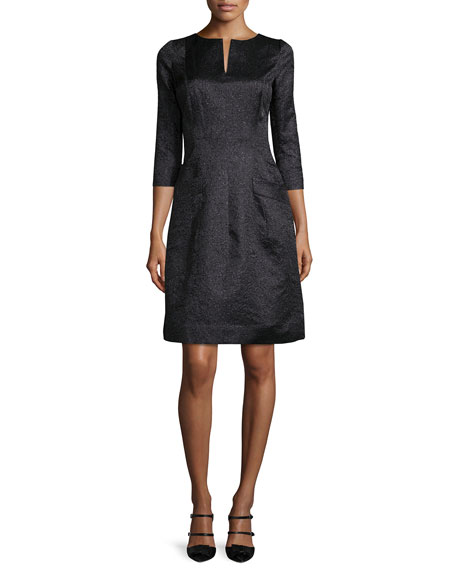Oscar de la Renta 3/4-Sleeve Metallic A-Line Dress,