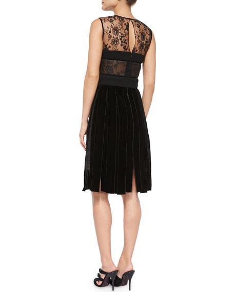 Lace & Velvet Bustier Cocktail Dress, Black