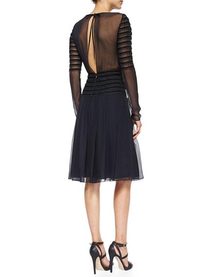 Oscar de la Renta Long-Sleeve Chiffon Cocktail Dress   Neiman Marcus