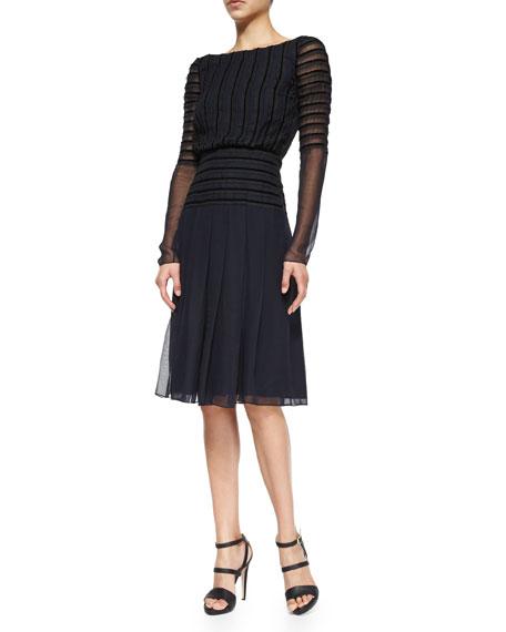 Oscar de la Renta Long-Sleeve Chiffon Cocktail Dress