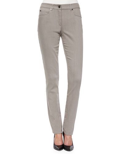 Bugle-Bead-Trim Five-Pocket Jeans, Pewter