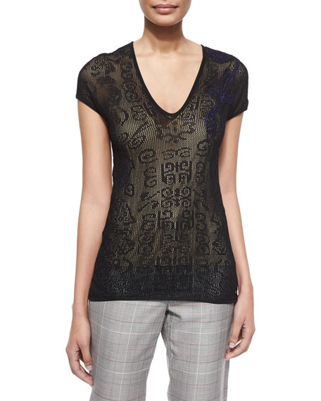 Escada V-Neck Cap-Sleeve Lace Top, Black