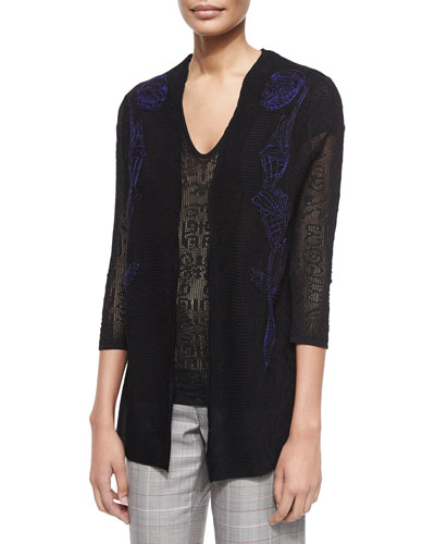 3/4-Sleeve Embroidered Lace Cardigan, Black