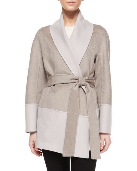 Escada Double-Faced Wool/Cashmere Wrap Topper Jacket, Light Pewter