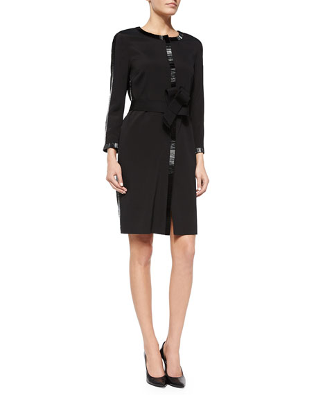 Escada Bugle Beaded-Detail Coat Dress, Black