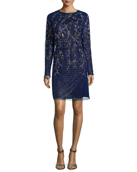 Escada Climbing Floral Long-Sleeve Beaded Dress, Ink