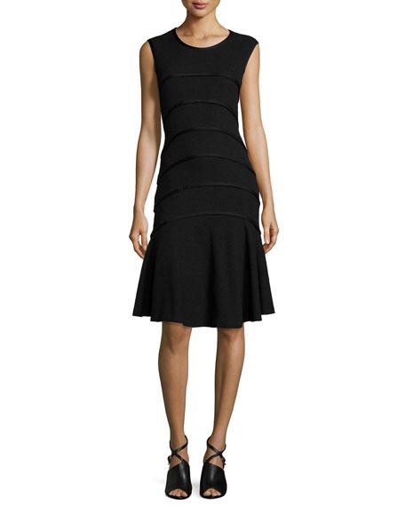 Escada Sleeveless Boucle Seam Dress, Black