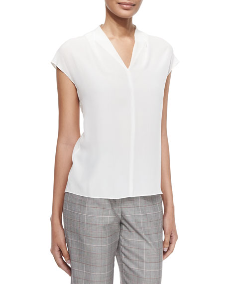 Escada V-Neck Cap-Sleeve Silk Shell, Off White