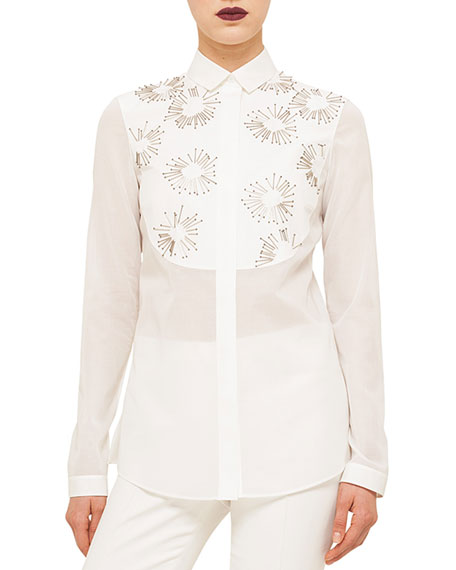 Akris punto Long-Sleeve Embellished Shirt, Cream