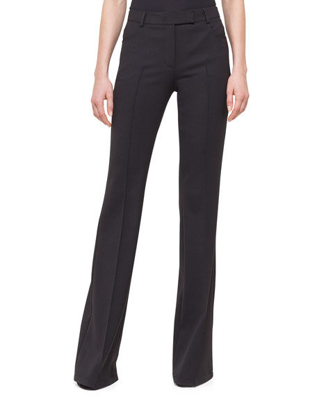 Akris punto Boot-Cut Raised Seam Pants