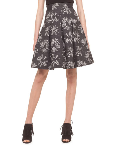 Pleated Jacquard Skirt, Tin