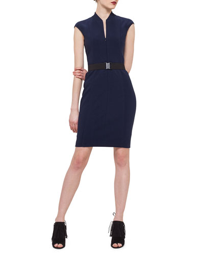 Cap-Sleeve Zip-Front Sheath Dress