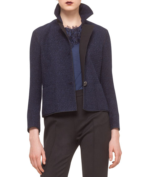 Akris punto Bracelet-Sleeve Boxy Jacket, Ultramarine