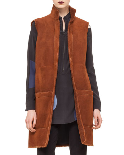 Long Reversible Shearling Fur Gilet, Nougate