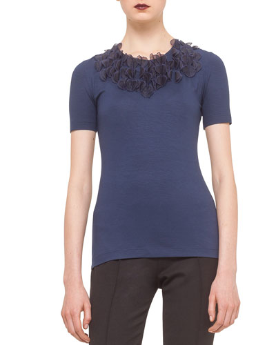Organza-Applique Embellished Tee, Ink