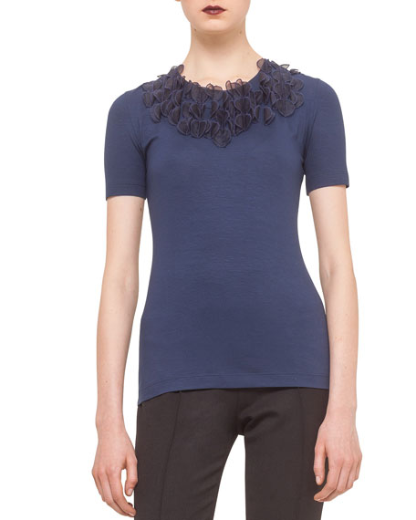 Akris punto Organza-Applique Embellished Tee, Ink