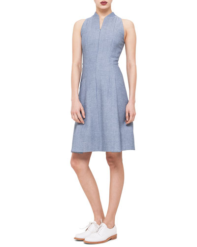 Zip-Front Pique Fit-and-Flare Dress