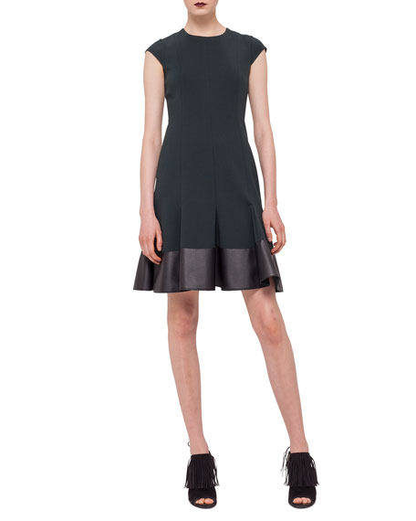 Akris punto Cap-Sleeve Jersey Dress w/ Faux-Leather Hem