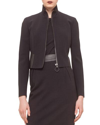 Cropped Jacket w/Faux-Leather Trim, Black