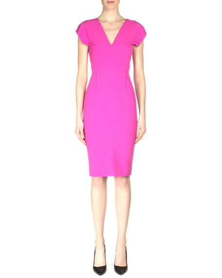 Roland Mouret Afyon Cap-Sleeve Crepe Sheath Dress