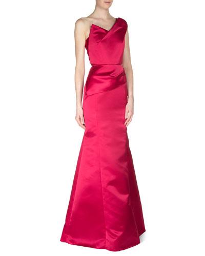 One-Shoulder Satin Faille Gown, Amarena Red