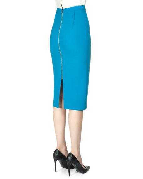 Arreton Wool Crepe Pencil Skirt