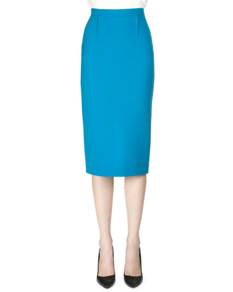 Arreton Wool Crepe Pencil Skirt