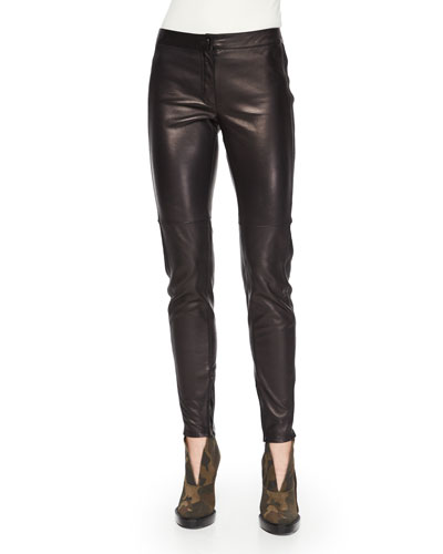 Stretch-Leather Leggings, Black