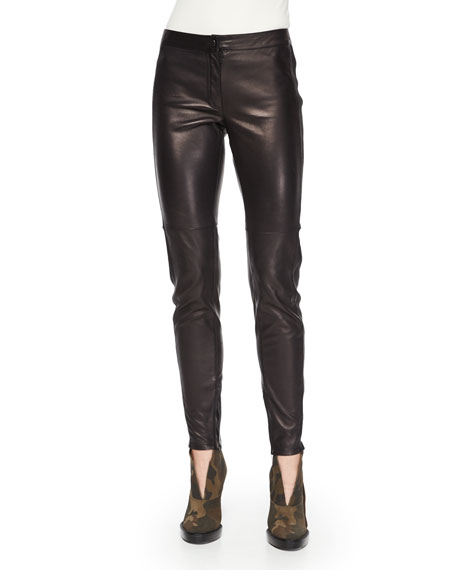 Burberry London Stretch-Leather Leggings, Black