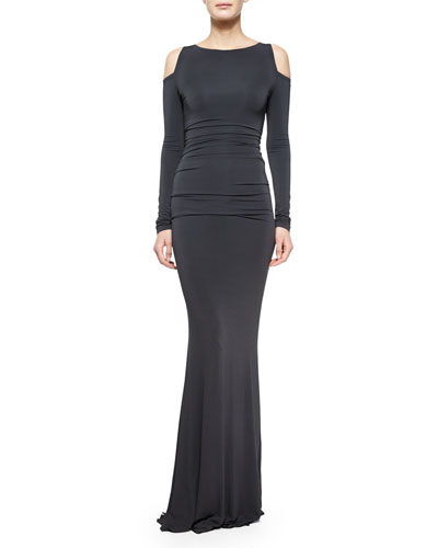 Long-Sleeve Cold-Shoulder Ruched Gown, Asphalt