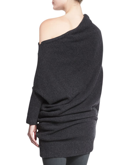 Off-The-Shoulder Cashmere Sweater, Charcoal