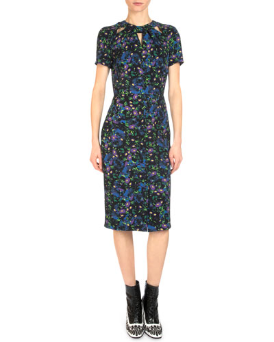 Camilia Floral-Print Cutout Sheath Dress