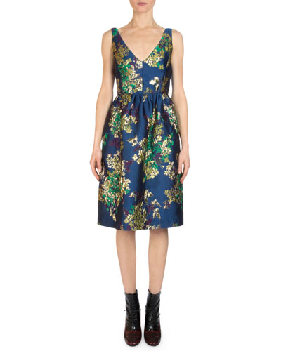 Dora Floral Jacquard V-Neck Dress