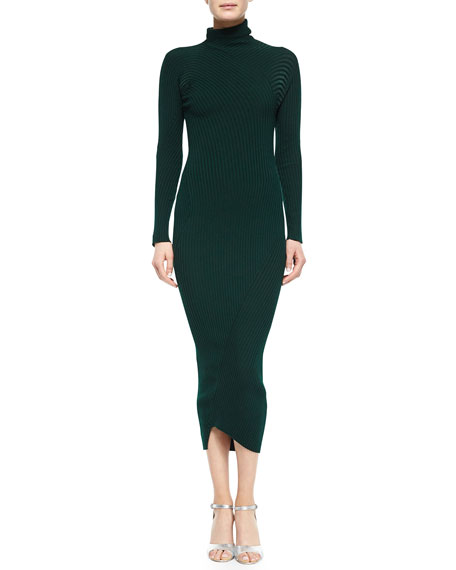 Ribbed Mock-Neck Long-Sleeve Dress, Dark Green