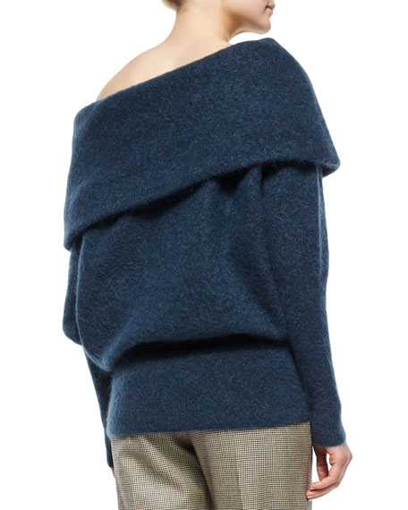 Acne Studios Oversized Off-The-Shoulder Sweater, Dusty Blue