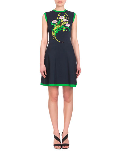 Sleeveless Bi-Color Intarsia Sheath Dress, Navy/Green