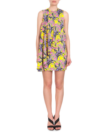 Christopher Kane Floral-Print Sleeveless Flounce Dress, Pink/Yellow