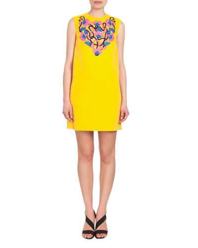 Sleeveless Lace-Inset Shift Dress, Yellow