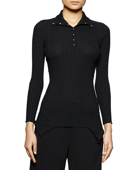 HENLEY TURTLNK LS RIBBED TOP