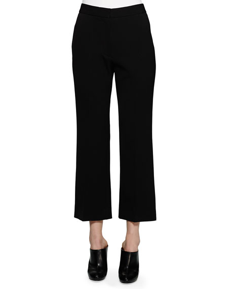 Stella McCartney Flared Gabardine Ankle Pants, Black