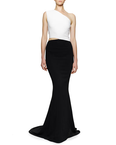 One-Shoulder Open-Waist Colorblock Gown