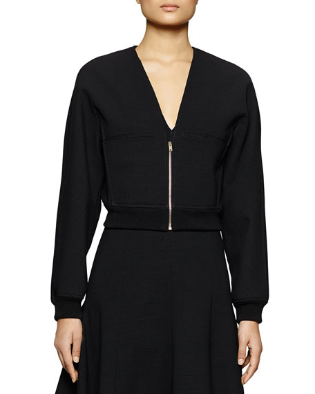 Stella McCartney Zip-Front Jersey Crop Jacket