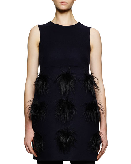 Faux-Fur Pompom Tunic/Dress