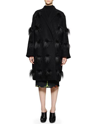 Faux-Fur Pompom Coat