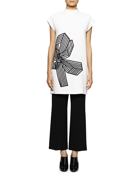 Stella McCartney Bow-Print Mock-Neck Tunic/Dress