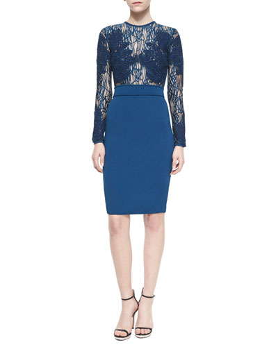 Embellished Long-Sleeve Cocktail Dress, Peacock
