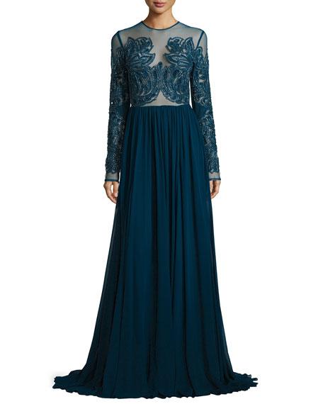Elie Saab Paisley Beaded Illusion Gown