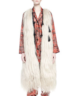Long Fur Vest Coat, Cream